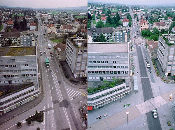 vorher - nachher  source: Ville de Granges